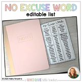Editable No Excuse Word List Fold-out