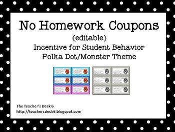 Editable No Homework Coupons Polka Dot Monster Theme