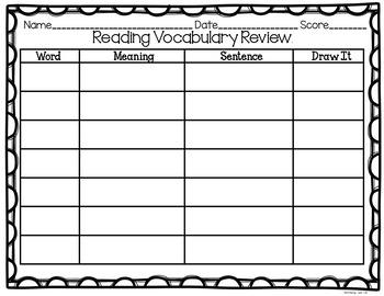 Editable Vocabulary Printable Worksheet