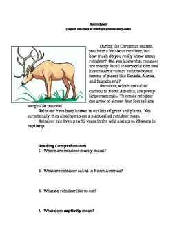 Free Editable Nonfiction: Reindeer