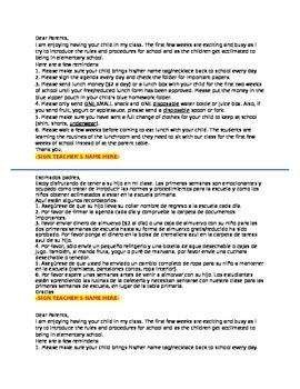 Editable Note Home 1st Week of School Kindergarten English Spanish