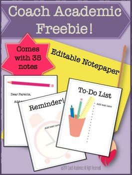Editable Note Paper {Freebie}