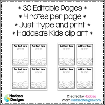Editable Note Templates - Hadasa's Kids Edition