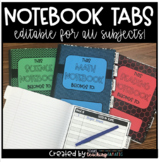 Editable Notebook Covers and Tabs