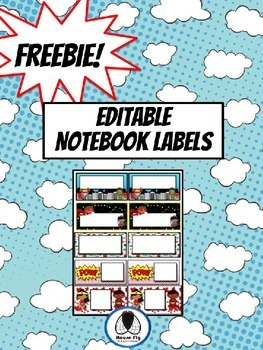 Editable Notebook Labels - Superhero Theme