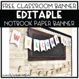 Editable Notebook Paper Banner
