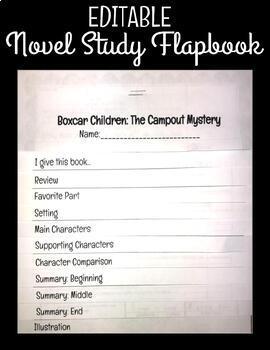 Editable Novel Study Flapbook Project