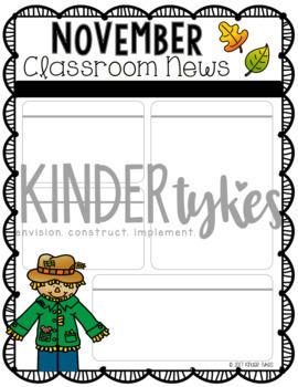 Editable November Classroom Newsletter