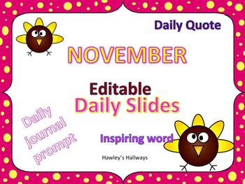 Editable November morning meeting Slides