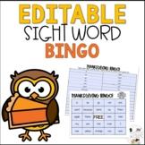 Editable November Thanksgiving Sight Word Bingo