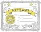 Award Certificate Best Teacher * Editable Fast Form Fill-In!
