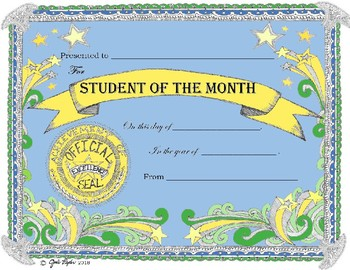 Award Certificate Student of the Month * Fast Form Fill-In!