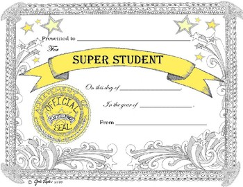 Award Certificate Super Student *  Editable Fast Form Fill-In!