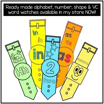 Free Editable Number, Alphabet or CVC Word Watches