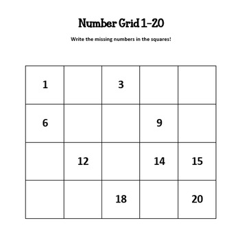 FREEBIE Editable Number Grid 1-20