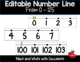 Editable Number Line Black and White with Succulents