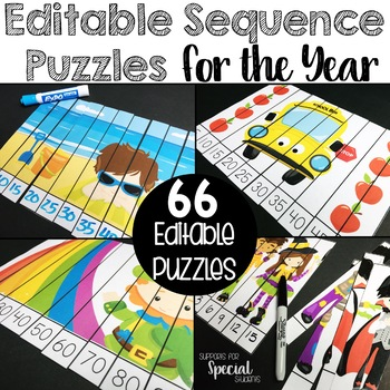 Editable Number Sequence Puzzles for the Year