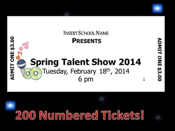 Editable Numbered Concert Tickets: Spring Talent Show
