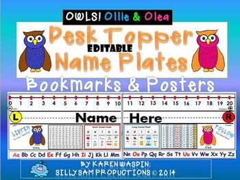 Editable OWLS! Ollie & Olea Desk Topper Name Plates & Posters