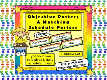 Schedule Cards & Objective Cards - Schedule Wall Posters  (Editable- Word)