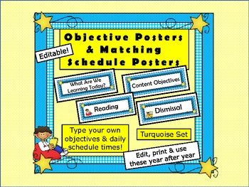 Schedule Cards and Objective Cards for your Schedule Wall Posters (Editable)