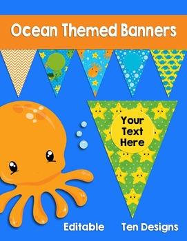 Editable Ocean Themed Banners Pennants