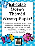 Editable Ocean Themed Blank Writing Paper!