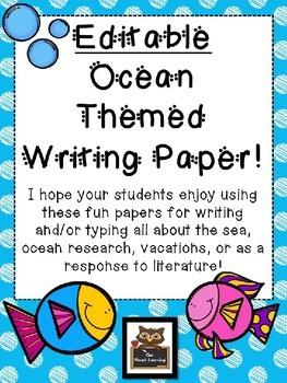 Editable Ocean Themed Blank Writing Paper!