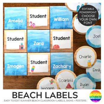 Editable Ocean Themed Classroom Labels