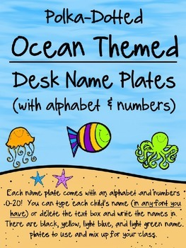 Editable Ocean Themed Desk Name Plates w/Alphabet and Numbers 0 - 20