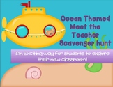 Editable Ocean Themed Meet the Teacher Scavenger Hunt