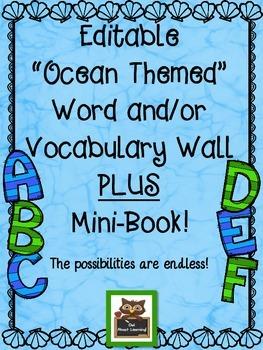Editable Ocean Word Wall or Vocabulary Word Wall Display w