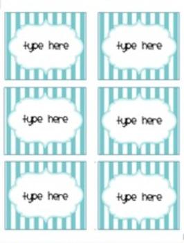 Editable Ocean/Nautical Themed Labels