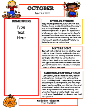 editable october newsletter template for preschool by beyond the abc s