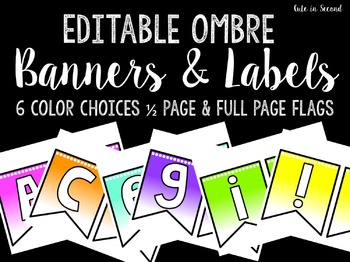 Editable Ombre Banner Pack- Letters and Punctuation