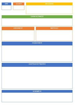 Editable One Page Lesson Plan Template