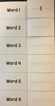 Editable One-Sheet Foldable Flip-Up Template (Perfect for Vocabulary)