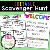 Editable Open House | Back to School Scavenger Hunt