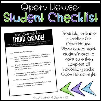 Editable Checklist   Open House   Meet the Teacher   Orientation