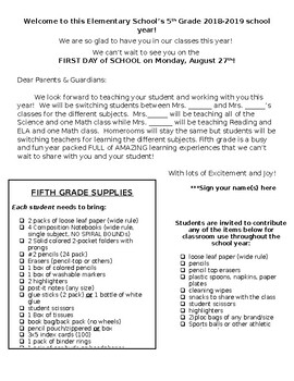 Editable Open House Letter, Supply List, and Wish List