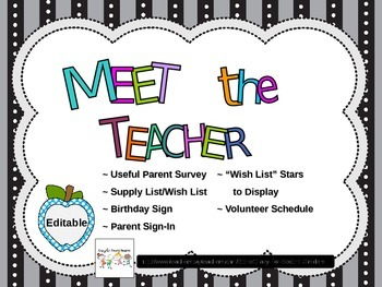 Editable Open House / Meet the Teacher Pack