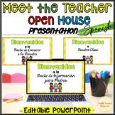 Editable Open House Meet the Teacher PowerPoint Spanish