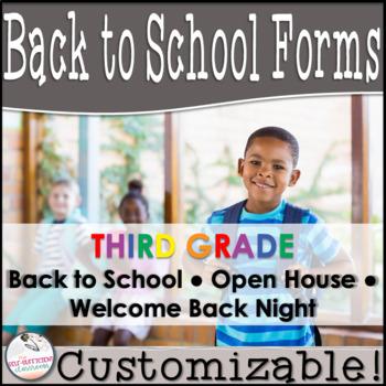 Editable Open House Parent Packet- Third Grade