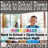 Back to School Third Grade Parent Information Packet- Cust