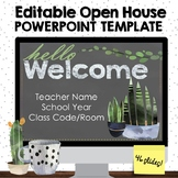 Editable Open House PowerPoint Template - Plants Watercolo