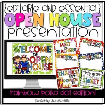 {Editable} Open House Presentation Essentials- Rainbow Polka Dot Edition!