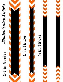 Editable Orange Chevron and Quatrefoil Binder Cover and Spine Label