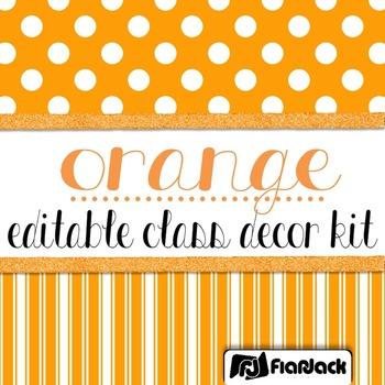 Editable Orange Color Scheme Class Decor Kit