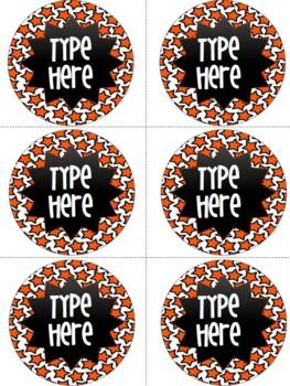 Editable Labels-Orange Star Round Labels