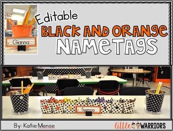 Editable Orange and Black Mini Nametags